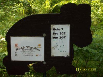 Black Bear Creek, Main course, Hole 7 Hole sign