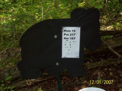 Black Bear Creek, Main course, Hole 15 Hole sign