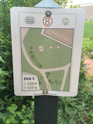 UWEC Campus, Main course, Hole 8 Hole sign