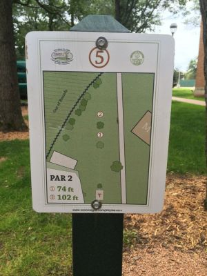 UWEC Campus, Main course, Hole 5 Hole sign