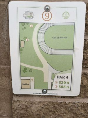 UWEC Campus, Main course, Hole 9 Hole sign