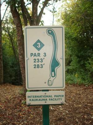 Grignon Park, Main course, Hole 3 Hole sign