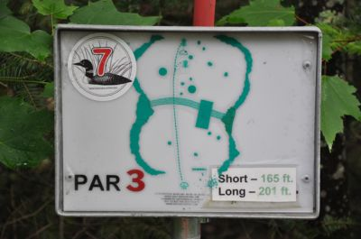 Sandy Point Resort Disc Golf Ranch, Main course, Hole 7 Hole sign