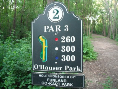 O'Hauser Park, Main course, Hole 2 Hole sign