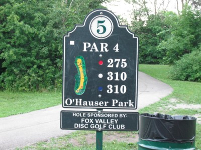 O'Hauser Park, Main course, Hole 5 Hole sign