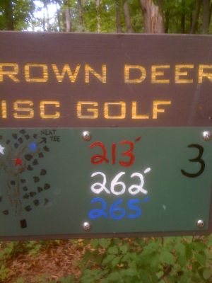 Brown Deer Park, Main course, Hole 3 Hole sign