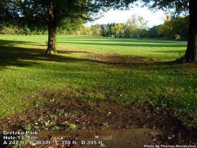 Dretzka Park, Main course, Hole 13 Tee pad