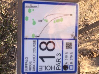 Buffalo Ridge Park, Main course, Hole 18 Hole sign