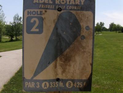 Evans Park, Main course, Hole 2 Hole sign