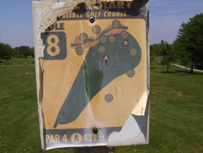 Evans Park, Main course, Hole 8 Hole sign