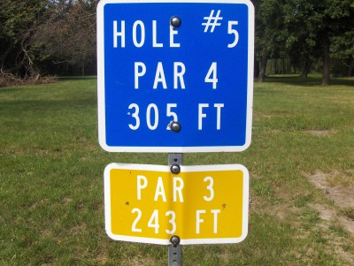 Heritage Park, Main course, Hole 5 Hole sign