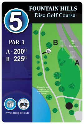 Fountain Hills Park, Main course, Hole 5 Hole sign