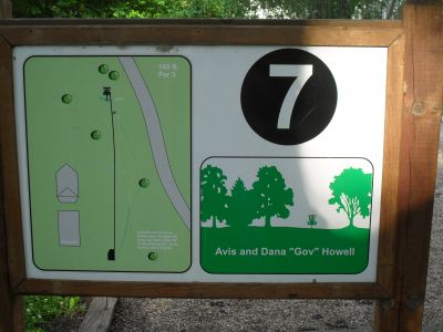 River DGC, Main course, Hole 7 Hole sign