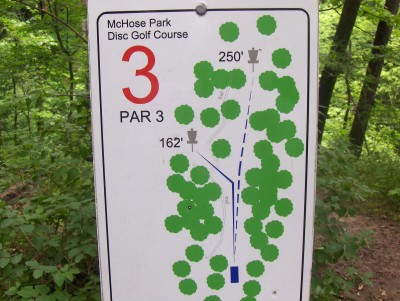 McHose Park, Main course, Hole 3 Hole sign