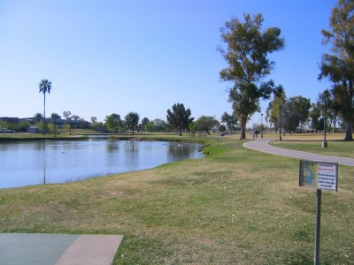 Vista Del Camino Park, Main course, Hole 18 Tee pad