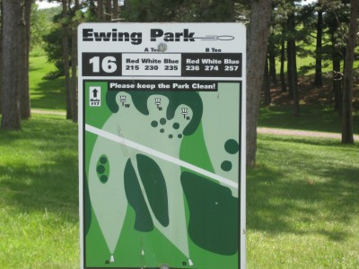 Ewing Park, Main course, Hole 16 Hole sign