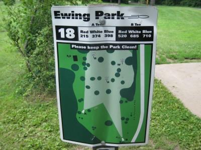 Ewing Park, Main course, Hole 18 Hole sign