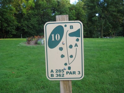 Grandview Park, Main course, Hole 10 Hole sign