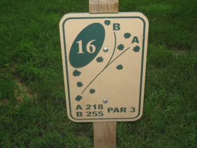 Grandview Park, Main course, Hole 16 Hole sign