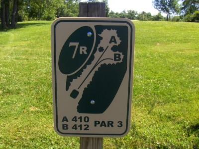 Walnut Ridge Recreation Area, Main course, Hole 7 Hole sign