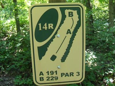 Walnut Ridge Recreation Area, Main course, Hole 14 Hole sign