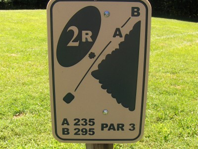 Walnut Ridge Recreation Area, Main course, Hole 2 Hole sign