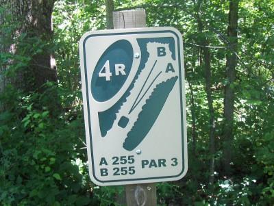 Walnut Ridge Recreation Area, Main course, Hole 4 Hole sign