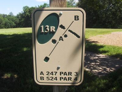 Walnut Ridge Recreation Area, Main course, Hole 13 Hole sign