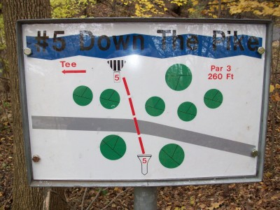 Snell-Crawford Park, Main course, Hole 5 Hole sign