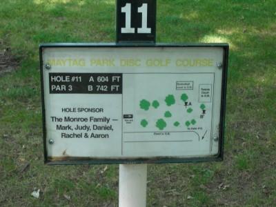 Maytag Park, Main course, Hole 11 Hole sign