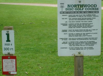 Northwood DGC, Main course, Hole 1 Hole sign