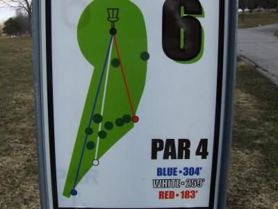 Perry DGC, Main course, Hole 6 Hole sign