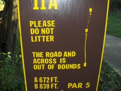 Big Creek State Park, Main course, Hole 11 Hole sign