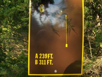 Big Creek State Park, Main course, Hole 6 Hole sign