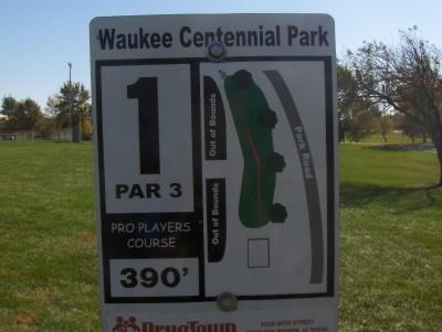 Centennial Park, Main course, Hole 1 Hole sign