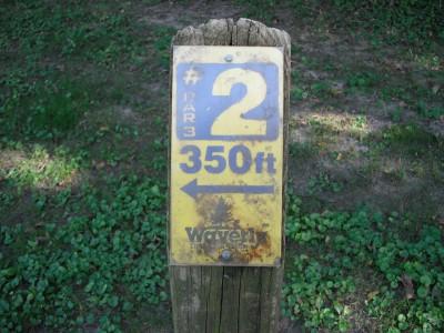 Brookwood Park, Main course, Hole 2 Hole sign