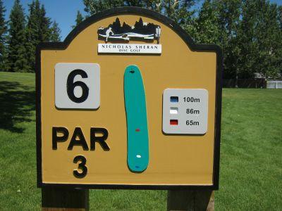 Nicholas Sheran Park, Main course, Hole 6 Hole sign
