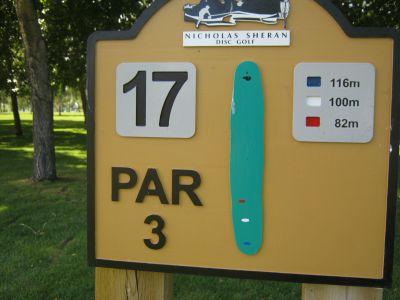 Nicholas Sheran Park, Main course, Hole 17 Hole sign