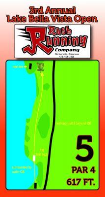 Lake Bella Vista, Main course, Hole 5 Hole sign
