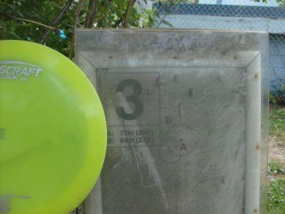 Happyland Park, Main course, Hole 3 Hole sign
