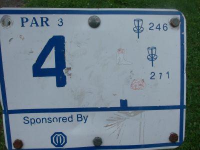 River's Edge at St. Julien's Park, Main course, Hole 4 Hole sign