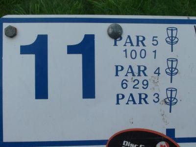 River's Edge at St. Julien's Park, Main course, Hole 11 Hole sign