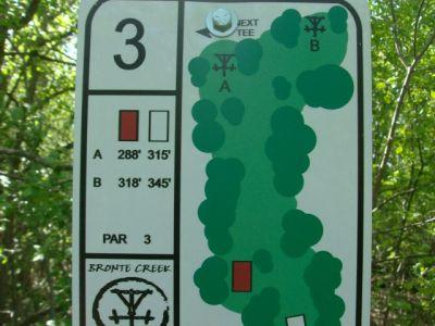 Bronte Creek Provincial Park, Main course, Hole 3 Short tee pad