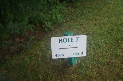 Strathgartney Provincial Park, Main course, Hole 7 Hole sign