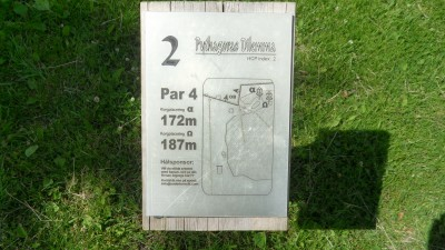 Rudan Frisbeesportcenter, Main course, Hole 2 Hole sign