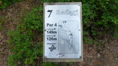 Rudan Frisbeesportcenter, Main course, Hole 7 Hole sign