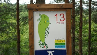 Järva Discgolf Park, Main course, Hole 13 Hole sign