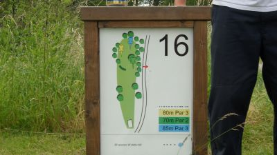 Järva Discgolf Park, Main course, Hole 16 Hole sign