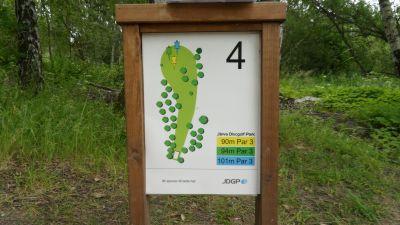 Järva Discgolf Park, Main course, Hole 4 Hole sign