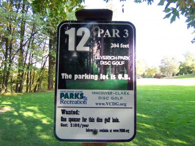 Leverich Park, Main course, Hole 12 Hole sign